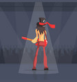 rock musician male guitarist performing on stage vector image vector image