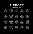 set line icons airport vector image vector image