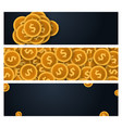 set of gold coins concept banner on the dark vector image