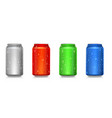 set realistic colored cans isolated on white vector image vector image