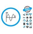 Sinusoid Plot Flat Icon with Bonus vector image vector image