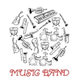 Sketched sound instruments for musical band vector image vector image