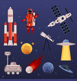 spacesymbols set with astronaut and spaceship vector image