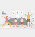 sport family at home parents and kids do exercise vector image