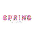 spring letters decorated with bright paper flowers vector image vector image