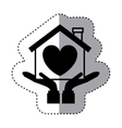 sticker silhouette of hands holding a house with vector image