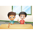 Two boys near the wooden table vector image vector image