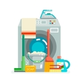Washing cleaning concept supplies icons flat vector image