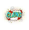 word clang on comic cloud explosion background vector image vector image