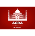 agra Taj Mahal india red background vector image
