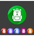 Backpack schoobag rucksack flat icon vector image vector image