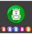 backpack schoobag rucksack flat icon vector image vector image