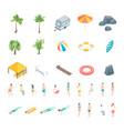 beach rest icon set concept 3d isometric view vector image vector image