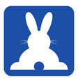 blue white sign - happy rabbit rear view icon vector image vector image