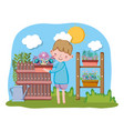 boy lifting houseplant with fence and shelf vector image