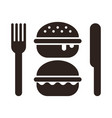 burgers knife and fork vector image vector image