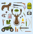 camping trip equipment collection accessories vector image