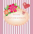 card with striped background flowers and air hear vector image vector image
