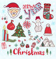 christmas doodle set new year cute sketches vector image