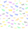 colorful paper plane seamless pattern vector image