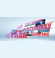 cyber monday online sale web design concept vector image vector image