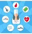 Doctor woman isolated objects set of medical vector image