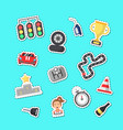 flat car racing icons stickers set vector image vector image