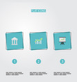 flat icons bar diagram bank growing chart and vector image vector image