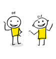 free hand drawing of two people talking vector image vector image