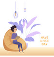 freelance woman character work soft chair banner vector image