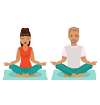 girl and boy yoga vector image vector image