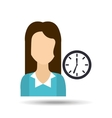 girl with clock icon vector image