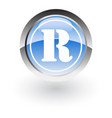 glossy icon letter r vector image vector image