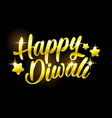 golden happy diwali congratulation with stars on vector image vector image