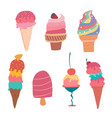 hand drawn pastel ice cream cone summer collection vector image