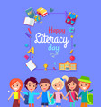 happy litearacy day postcard vector image vector image