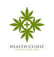 health symbol logo design and marijuana vector image vector image