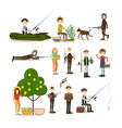 hunter people flat icon set vector image