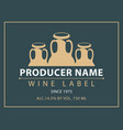 label for wine with three clay pitchers vector image vector image