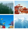 landscapes set vector image