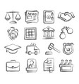 law doodle icons vector image vector image