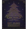 linear christmas new year poster card vector image vector image