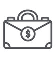 money suitcase line icon bag and business case vector image vector image