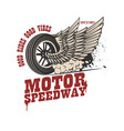 motor speedway racer winged wheel design element vector image vector image