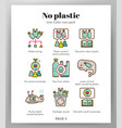 no plastic icons linecolor pack vector image