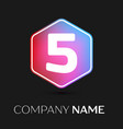 number five symbol in colorful hexagonal vector image vector image