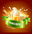 oktoberfest ad poster realistic beer glass vector image vector image