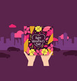 pair hands holding gift card happy valentine day vector image