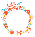 Party Letter Icons On Circle Frame vector image vector image