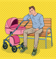 pop art sleepless father with baby stroller vector image